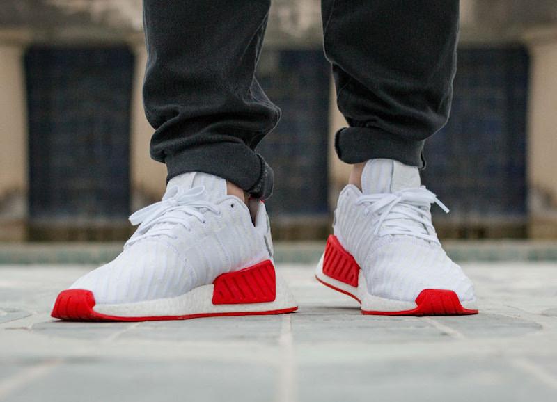上脚不错哦,adidas NMD R2 White Red